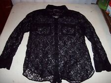 Victoria's Secret Women's Medium Black Lace Button Front Shirt EUC