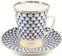 Imperial Lomonosov Porcelain Cobalt Net Teacup /Coffee Cup Saucer Made in Russia