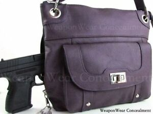 Concealment Purse NEW PURPLE Leather Locking Concealed Carry CCW Holster Gun