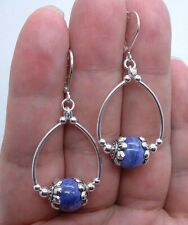 Beautiful Purple Chaorite Sterling Silver Hoop Earrings A0310