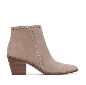 New LUCKY BRAND $139 Suede Studded Booties 8.5 M Ankle Boots Brindle LINNEA