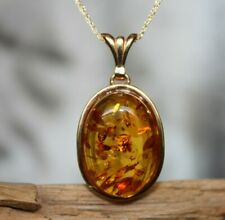 GENUINE BIG COGNAC BALTIC AMBER PENDANT 925 STERLING SILVER PLATED GOLD