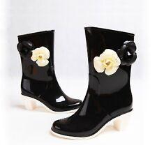 US 8 Black Women's Boots Flower Bedeck High Heels Rain Boots EUR Size 39 mt00
