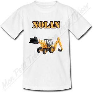 T-shirt Enfant Tractopelle avec Prénom Personnalisé - chantier construction