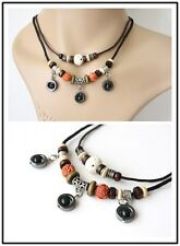 NEW Leather Hemp Bead Pendant Charm Necklace Choker Adjustable Tribal Vintage