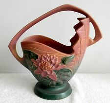 """Roseville Water Lily large 12"""" basket vase in rose, pink and green - FREE SHIP"""