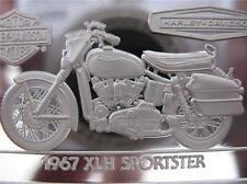 1.4-OZ.999 PURE SILVER 1967 SPORTSTER 9OTH ANNIV HARLEY DAVIDSON BAR INGOT +GOLD
