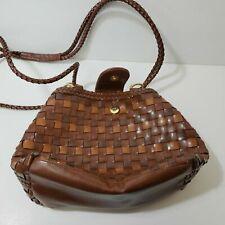 Y&S Handbag Faux Leather Brown Weave Shoulder Bag