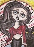 Goth Girl with Black Cat Artist KSams art abstract SIGNED 11x14 PRINT Halloween
