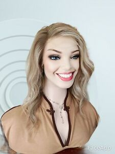 """Wig Human Brazilian Hair 14"""" Ombre Blonde 130 Density Swiss Front Lace"""