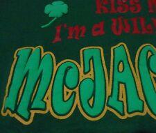 Vintage Funny Wild Irish Shamrock Kiss Me Puff Print Green T Shirt Jersey sz Xl