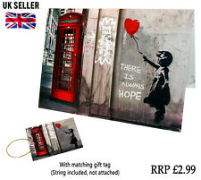 Banksy Phonebox A5 Greeting Birthday Card Gift Tag With Envelope Friends