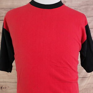 VINTAGE FRUIT OF THE LOOM RED BLACK COLORBLOCK BLANK SINGLE STITCH USA T SHIRT L