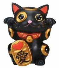 """Japanese 4""""H Black Maneki Neko Money Lucky Cat Wish Making LOVE Statue Figurine"""