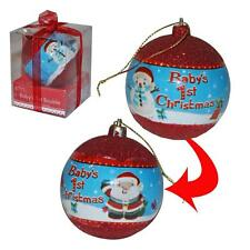 Baby's 1st Christmas Bauble with Red Glitter - Unisex Decoration