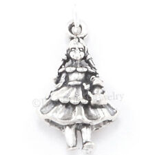 3D WIZARD of OZ DOROTHY & TOTO Dog Bracelet Charm Pendant in 925 STERLING SILVER