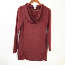 Soft Surroundings Womens Tunic Sweater Petite Small Cowl Neck Long Sleeve Red PS