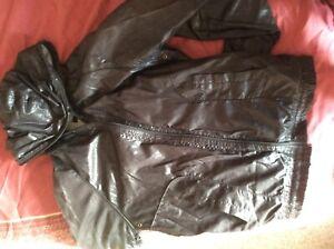 Junk De Luxe Bomber Jacket.Sexy black+hood, phone pocket - gay interest (a)