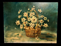 Original Oil Painting Signed Impressionist Basket of Daisies Betts Bond Akron