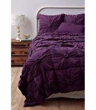 Anthropologie Queen Comforter Bedding Quilt Lazybones Rosette Purple Bedspread