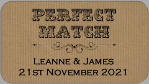 Mini Brown Perfect Match Wedding Favour Labels Small Personalised Sticky Labels