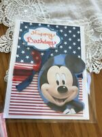Birthday Card Handmade Mickey Celebrating July 4 Red White And Blue Ribbons Star