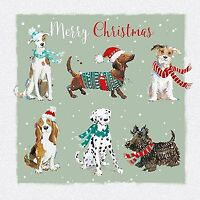 Charity Christmas Card Pack - 6 Cards Xmas Dogs Woofing - Glittered Ling Design