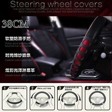 Non-slip Covers 38cm Steering Wheel Covers Leather Red Steering Wheel Covers NEW