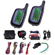 Vehicle Security Paging Car Alarm 2 Way Lcd Sensor Remote control Engine Start