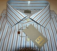 NEW $295 men IKE BEHAR 17 38 GOLD LABEL ITALY DRESS SHIRT Blue HErringbone i294