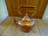 ANTIQUE GEORGIAN COPPER KETTLE WITH DOVETAIL JOINTS & SWAN NECK HEIGHT 30 X 30cm