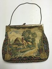 VINTAGE  MADE IN FRANCE TAPESTRY EVENING BAG - COUNTRY SCENE