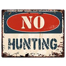 PP1370 NO HUNTING Plate Rustic Chic Sign Home Store Shop Decor Gift