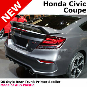 For 12-16 Honda Civic 2Dr Coupe SI Style Primer ABS Rear Trunk Spoiler Wing