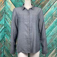 Caslon Women's Shirt Medium Classic Fit Dots Long Sleeve Button Front Cotton