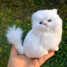 Realistic Mini Cute White Persian Cat Fur Kitten Plush Toy Photo Prop Home Decor