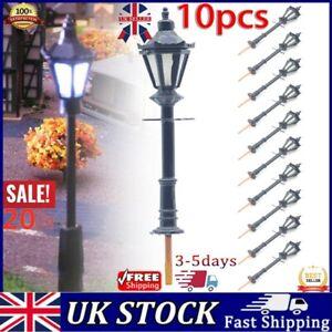 10Pcs Model Street Lights Scale 1:75 Railway Train 3V LED Lamp Post Patio Lamps