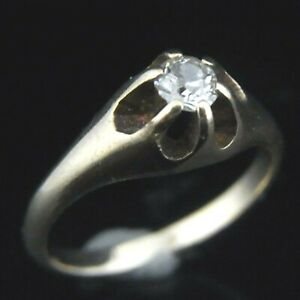 Antique Diamond Engagement Ring Old European Cut 14k Yellow Gold Gift Solitaire