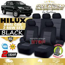PREMIUM BLACK SEAT COVERS for TOYOTA HILUX SR SR5 4x4 DUAL CAB 03/2005-06/2015