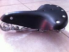 VINTAGE CLASSIC BICYCLE SEAT LEATHER BLACK BEACH CRUISER MTB BIKES CYCLING NEW