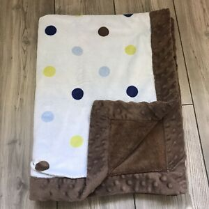 """Carters Just One You Baby Blanket Brown Blue Minky Polka Dots Lovey 30x40"""""""