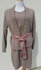 CATHERINE ANDRE LIGHT BROWN SAILOR TIED CABLE WOOL CARDIGAN & SCARF SZ L