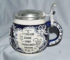 Humpen Bierkrug Steinzeug,Zinndeckel, Marzi & Remy, Höhr-Grenzhausen, Westerwald