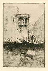 Edgar Chahine original etching, Venice