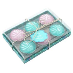 Set of 6 Turquoise and Lilac Shell Themed Tea Light Candles, New & Boxed