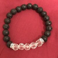 BLACK CLEAR CRYSTAL LAVA BEAD AROMATHERAPY ESSENTIAL OIL DIFFUSER YOGA BRACELET