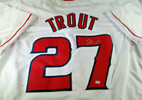 MIKE TROUT / AUTOGRAPHED LOS ANGELES ANGELS WHITE CUSTOM BASEBALL JERSEY / COA