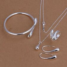 Bracelet Bangle Silver Plated Necklace Ring Earrings Water Drop Jewelry Set