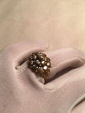 Hand Made Antique Vintage Genuine Color CZ Size 7 Brass Ring
