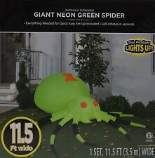 Halloween Gemmy 11.5 ft wide Giant Neon Green Spider Airblown Inflatable NIB